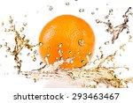 orange fruits and splashing... | Shutterstock . vector #293463467