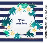 card with palm leaves and...   Shutterstock .eps vector #293465651