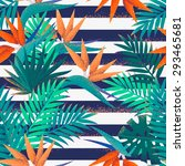 palm leaves and strelitzia... | Shutterstock .eps vector #293465681