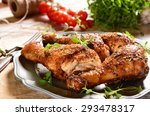 roasted chicken legs with thyme | Shutterstock . vector #293478317