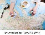 destination points. a woman... | Shutterstock . vector #293481944