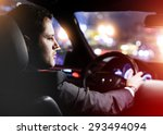businessman driving a car at... | Shutterstock . vector #293494094