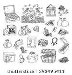 doodle money icon set   hand... | Shutterstock .eps vector #293495411