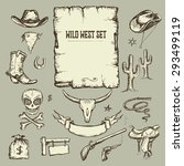 wild west  set collection  hand ... | Shutterstock .eps vector #293499119