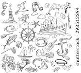 Hand Drawn Elements Of Marine...