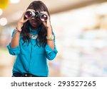 black woman with binoculars | Shutterstock . vector #293527265