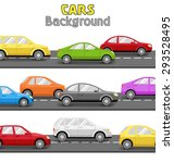 multicolored cars on road.... | Shutterstock .eps vector #293528495