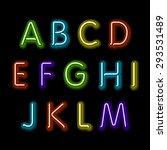 neon glow alphabet. vector... | Shutterstock .eps vector #293531489