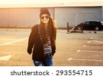 young beautiful girl in glasses ... | Shutterstock . vector #293554715