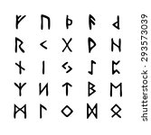 alphabet with ancient old norse ... | Shutterstock .eps vector #293573039