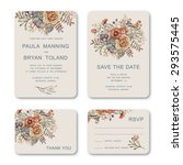 set of wedding invitation card... | Shutterstock .eps vector #293575445