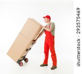 delivery man holding push cart... | Shutterstock . vector #293575469