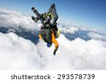 Two Skydivers In Free Fall On ...