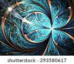 Shiny Blue Fractal Flower Or...