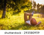 trendy hipster girl relaxing on ... | Shutterstock . vector #293580959
