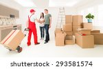 couple moving in new home and... | Shutterstock . vector #293581574