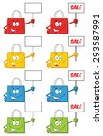 shopping bags cartoon character ... | Shutterstock . vector #293587991