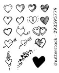 Set Of Hand Draw Hearts. Vecto...