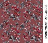watercolor garden rowan plant... | Shutterstock .eps vector #293601311