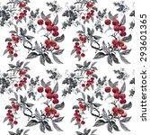 watercolor garden rowan plant... | Shutterstock .eps vector #293601365