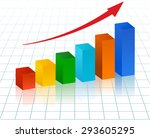 rising bar graph with red arrow | Shutterstock .eps vector #293605295