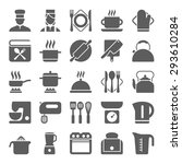 cooking and kitchen icons set | Shutterstock . vector #293610284