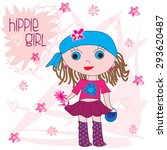 pretty hippie girl with flowers ...   Shutterstock .eps vector #293620487