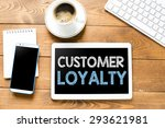 tablet pc with customer loyalty | Shutterstock . vector #293621981