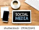 tablet pc with social media and ... | Shutterstock . vector #293622641