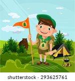 summer camp with boy. vector... | Shutterstock .eps vector #293625761