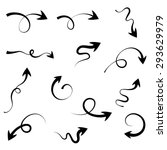 set of curly black arrows... | Shutterstock .eps vector #293629979