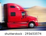 red semi truck on the road.... | Shutterstock . vector #293653574