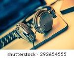 Headphones On Laptop Computer....
