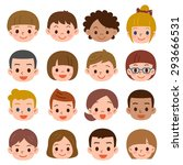 set of a lot of the child's face | Shutterstock .eps vector #293666531