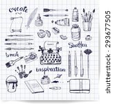 pen sketches of artist's and... | Shutterstock .eps vector #293677505