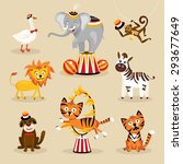 set of cute circus animals... | Shutterstock .eps vector #293677649