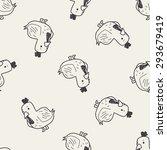 chicken doodle seamless pattern ... | Shutterstock . vector #293679419