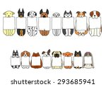 sitting dogs with board in... | Shutterstock .eps vector #293685941