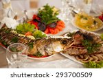 gefilte fish  vegetables and... | Shutterstock . vector #293700509