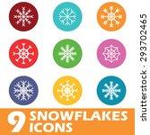 9 snowflakes icons set