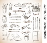 sketches of vintage artist's... | Shutterstock .eps vector #293703299