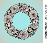 wreath of roses  peonies.... | Shutterstock .eps vector #293721449