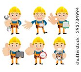 worker characters in different... | Shutterstock .eps vector #293734994