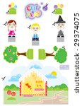 beautiful cute toy paper to cut ... | Shutterstock .eps vector #29374075