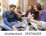 young people browsing the... | Shutterstock . vector #293746205