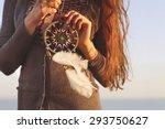 brunette woman with long hair...   Shutterstock . vector #293750627