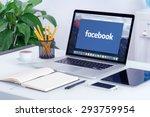 facebook new logo on the apple... | Shutterstock . vector #293759954