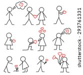 set of stick figure in love... | Shutterstock .eps vector #293761331