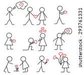 Set Of Stick Figure In Love...