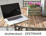 still life view of open laptop... | Shutterstock . vector #293790449